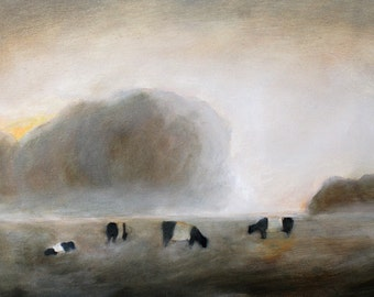 "Cows in fog painting - print of original oil painting 13x15"" print Belted cows art print"