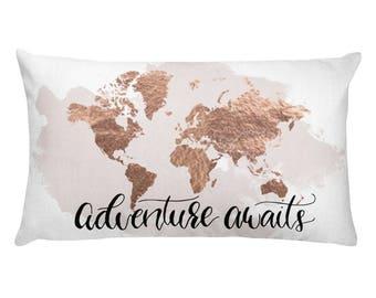Travel Gift, Throw Pillow, Decorative Pillow, Pillow, Travel Quote, World Map Pillow, Travel Decor, Accent Pillow, Adventure Awaits, Travel