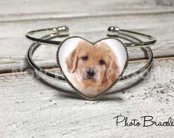 PHOTO Bracelet, Heart shaped cuff bracelet, photo jewelry, custom photo bracelet, personalized jewelry, Loss of Loved One, memorial jewelry