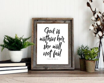 God is within her she will not fail Wall Art Print | Baby Girl Nursery Art Print | Bible Verse Scripture Quote - instant download printable