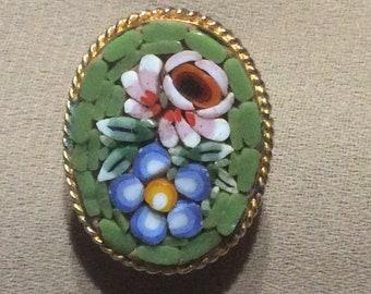 Vintage Micro Mosaic Italian Oval Flower Brooch