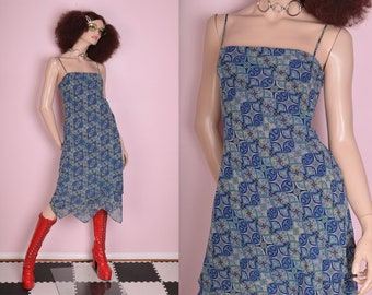 90s Funky Print Scarf Hem Dress/ US 8/ 1990s/ Tank/ Sleeveless