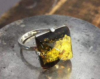Sterling Silver Green Amber Square Ring 7