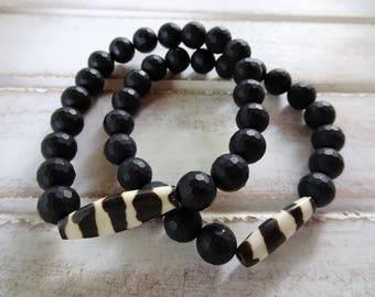Men's Meditation Bracelet, Black Onyx Faceted Natural Stones, Ghana Tribal Bead, Yoga, Spiritual, Meditation Jewelry