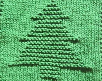 Christmas Tree Knit Dishcloth Pattern Only *PDF Digital Download*