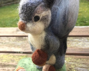 Squirrel Soft Sculpture, wool needle felted animal, gift ornament, home decor