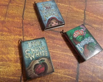 "Miniature Book Charms Wood Charms Classic Book Charms Set of 3 1"" Library Charms C"
