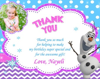 Frozen Olaf Thank You Card Birthday Party