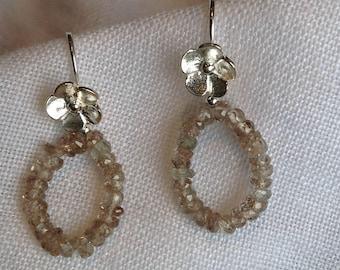 Natural Zircon Sterling Silver Earrings