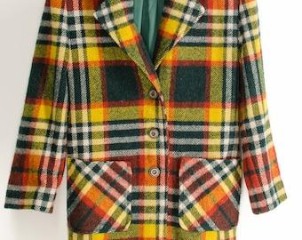 Vintage Bright PLAID Wool Coat Retro Wool Jacket Medium