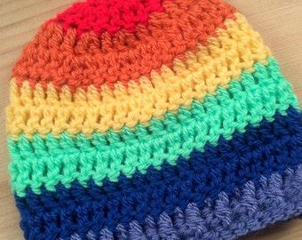 Rainbow Hat - Crochet Hat - Baby Gift - Beanie Hat - Rainbow Baby - Baby Hat - Childs Hat - Boys Hat - Girls Hat - Rainbow
