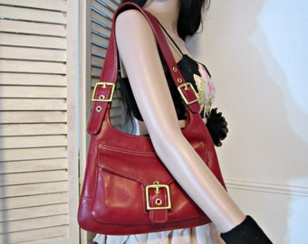 COACH Bag, Red COACH Leather Purse, Red Leather Bag