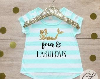 Birthday Girl Shirt / Baby Girl Clothes Four Fabulous Mermaid 4 Year Old Outfit Fourth Birthday Shirt 4th Birthday Girl Outfit Four 080