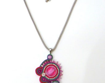 Bright Pink Necklace, Crystals, Soutache Necklace, Soutache, Asymmetrical, Pink, Fascia, Green, Red, Purple, Statement, Foiled Glass