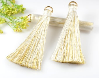 Silk Tassels, White/Gold Multi Color Tassel, 75mm Long Silk Tassel, Tassels for Jewelry Making, Tassel Earrings, tassel Necklaces