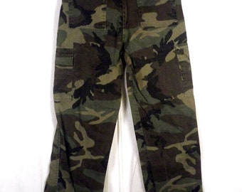 vtg 70s Steel Camo Woodland Camouflage Men's Hunting Pants Military sz 28 X 28