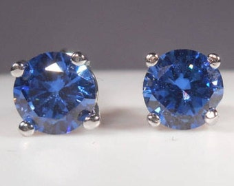 Simulated Tanzanite Earrings|6mm Tanzanite Studs|Silver Tanzanite Stud Earrings|Simulated Tanzanite Stud Earring|Man Made Tanzanite Earrings