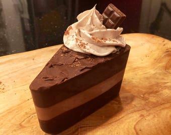 Sliced Chocolate-Vanilla Cream Cake Soap