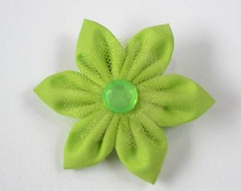 Lime Green Fabric Pinwheel Hair Flower