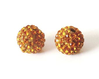 1 x bead ball 8mm topaz crystal rhinestones