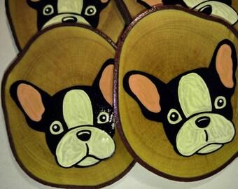 French Bull Dog, Coasters, Set of 4 on Maple, Dog Lover Gift, Frenchie,