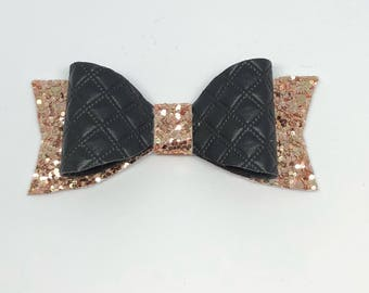 Black quilted faux leather gold glitter