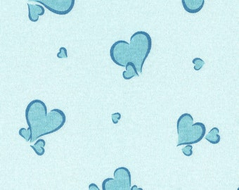 BLUE HEARTS, Cotton Baby Rib Knit Fabric, by the yard