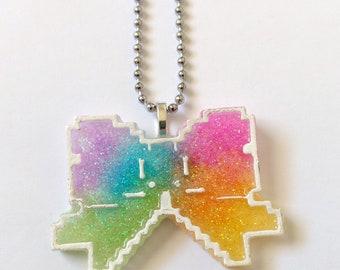 Glitter Neon Rainbow Pixel Bow Necklace - Pop Kei Jewelry Kawaii Jewelry Decora Jewelry Dinosaur Jewelry Kitsch Jewelry Fairy Kei Jewelry