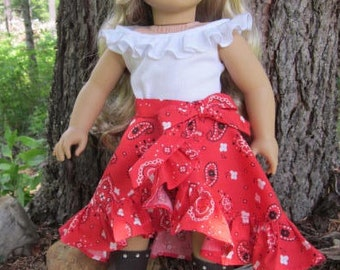 """18""""  Red """"Country Diva"""" Bandana Doll Skirt & White Ruffled Top Handmade to Fit Tenney and Other American Girl Dolls, Journey Girls"""