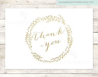 gold thank you cards printable DIY bridal baby wedding shower white gold glitter wreath thank you cards - INSTANT DOWNLOAD