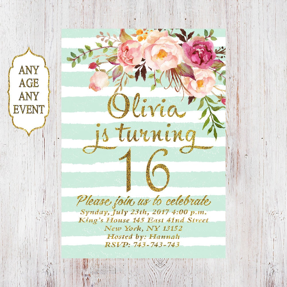 Floral birthday invitation 16th birthday invitations girl mint