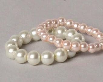 Handmade Pearl Baby Bracelet - Newborn - Sitter - Toddler -Photo Prop-Baby Shower Gift-#132