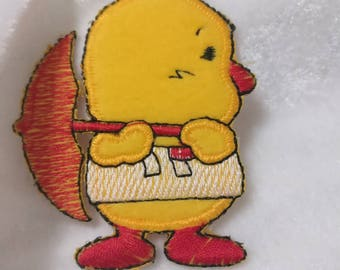 Wholesale Lot  12pcs  cartoon  umbrella chick embroidered iron on patch 5x7cm