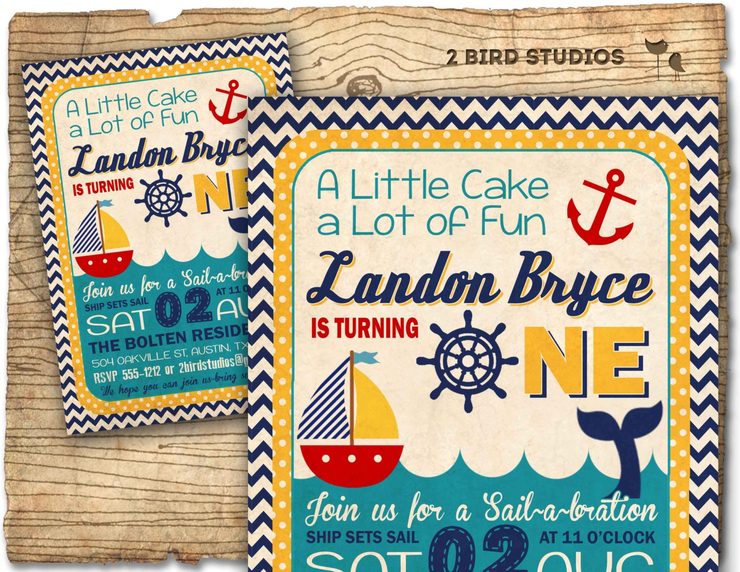 Nautical Birthday Invitation Sail Boat invitation Chevron