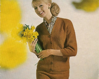 Vintage Knitting Patern, Sidar 2259B Lady's Double Boucle Suit in Pdf format
