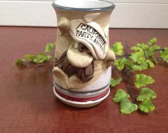 "1970's Stoneware Funny Face Coffee Mug Stein ""California Party Animal"" -funny face mug, stoneware mug, California, party animal"