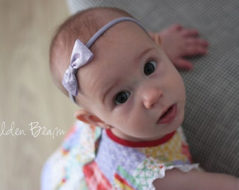 Pastel Lavender Headband - Lilac Polka Dot Bow Handmade Headband - Baby to Adult - African Violet