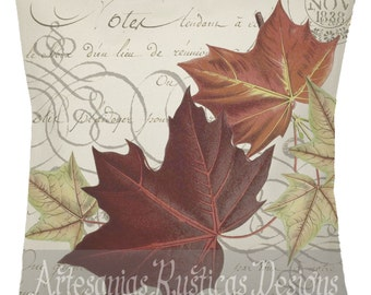 French Botanical Pillow 100% Cotton Canvas Burlap Vintage Fall Foliage on Script Throw Pillow Cover Euro Sham