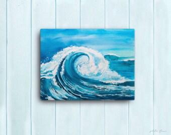 Watercolor Ocean Painting Abstract Canvas Print - Aqua Teal Blue Sea Coastal Beach Giclee Art Print - 8x10/11x14/12x16/16x20 - Big Sur