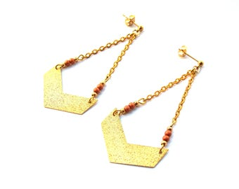 Earrings pearls and gold glitter Chevron
