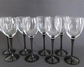 8 White Wine Glasses Black Stems Made in France Luminarc Stemware
