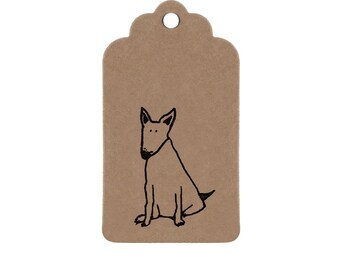 Dog Gift Tags: Brown Kraft Strung Parcel Tags with Hand-Printed Black Bull Terrier