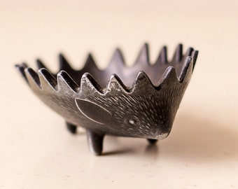 Soviet Vintage HEDGEHOG Ancient Ashtray in the Form of Hedgehog from Metal in Bosse Style 70s Ash Tray USSR Ring Holder