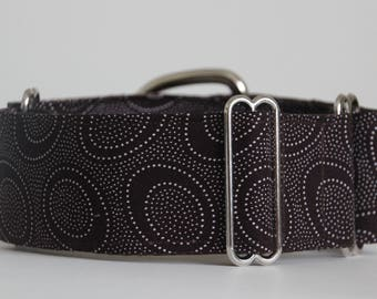 "Greyhound White Dot Circles on Brown 2"" Martingale Collar"