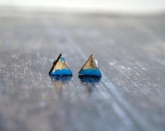 minimal modern studs , small earring posts , geometric gold studs , tiny geometric studs