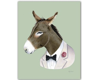 Donkey art print by Ryan Berkley 5x7