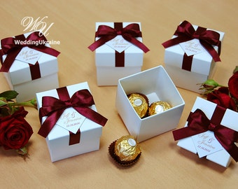 Wedding favor box etsy elegant wedding bonbonniere wedding favor boxes with burgundy satin ribbon bow and custom personalized tag junglespirit Images