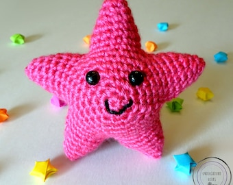 Pink Star Cutie - Pink Crochet Star Plushie - Cute Pink Star Amigurumi - Cute Pink Star Stuffie - Cute Pink Star Stuffed Animal