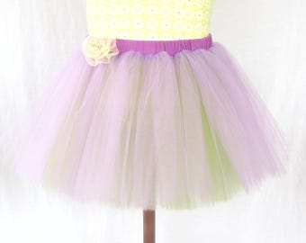 Two-tone Purple and Green Sewn Tutu - Reversible - Child Size - Adjustable Waistband - Open-Ended Imaginary Play - Ballet, Fairy, Princess