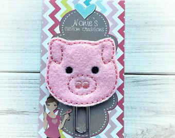 Pig Paper Clip - Pig Paperclip - Planner Accessories - Planner Feltie - Farm Paper Clip -Pig Feltie